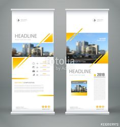 Vector: Abstract composition. White roll up brochure cover design. Info banner frame. Text font. Title sheet model set. Modern vector front page. City view brand flag. Triangle figures icon. Ad flyer