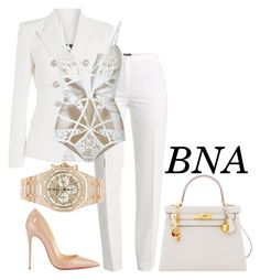 """BNA"" by deborahsauveur ❤ liked on Polyvore featuring Balmain, Basler, For Love & Lemons, Christian Louboutin, Audemars Piguet and Hermès"