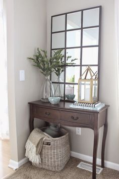 Diy pottery barn eagan mirror entryway decor home. Foyer Decorating, Interior Decorating, Interior Design, Decorating Hacks, Home Design, Decoration Entree, Barn Living, Living Rooms, Diy Casa