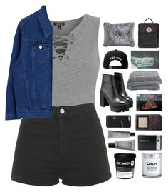 """""""Untitled #2314"""" by tacoxcat ❤ liked on Polyvore featuring MAKE UP FOR EVER, Topshop, Trukfit, Polaroid, Fjällräven, Pier 1 Imports and H&M"""