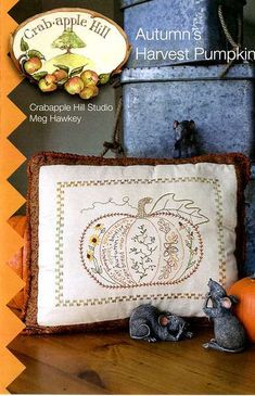 Autumn's Harvest Pumpkin 304 Hand Embroidery by agardenofroses, $10.00 (Crabapple Hill Studio)