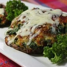 Spinach Stuffed Portobello Mushrooms Allrecipes.com  These sound delightful! Can't wait to try them.