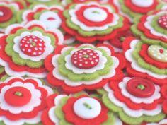 HAPPY Jolly CHRISTMAS - 3 x Handmade Felt Flower Embellishments in red, lime and white / Felt Applique / Christmas Flower via Etsy