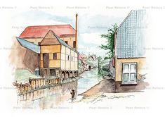 De naam zegt het al: Oudestadsgracht. Vroeger maakte dit water deel uit van het grachtenstelsel dat rond Eindhoven lag. Het was een vertakking van de Dommel bij de Wal en kwam bij de Vestdijk weer bij elkaar. In 1956 gedempt. Aan dit water lagen diverse leerlooierijen oa die van Keunen. Kun je je nog niet voorstellen waar dit was? Achter het gebouwtje rechts ligt nu het hoofdkantoor van de Dela.