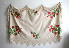 Mexican Rose Long Lace Embroidered Tablecloth by boxofhollyhocks
