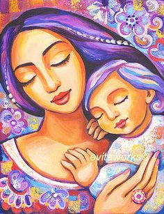 Mother and Child, Nursery Art, Purple, Lavender, Love