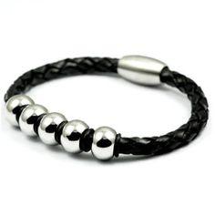 Glossy Balls Original Leather Bracelet for Men