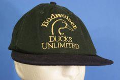 Ducks Unlimited Budweiser Snapback Hat Baseball Cap Green Gold Broken Snaps USA # #Baseball