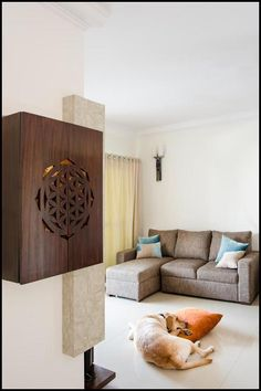 unit With Mandir - Ashtyn Wilderman I - Living Room Apartment Interior, Interior Design Living Room, Temple Design For Home, Pooja Room Door Design, Pooja Rooms, Indian Home Decor, Bedroom Decor, Modern Bedroom, Wall Mount