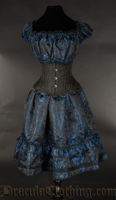 Blue Brocade Gothabilly Dress - Dresses - Ladies Clothing