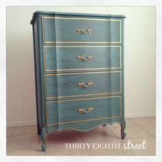An  beautifully finished chest of drawers painted in a custom blend of Florence, Provence and Aubusson Blue Chalk Paint® decorative paint by Annie Sloan | From The Melinda Bedroom Collection by Thirty Eighth Street