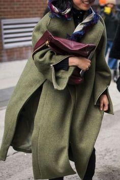 green coat + purple bag