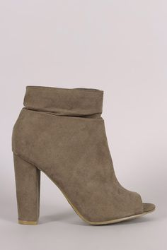 Bamboo Suede Slouchy Peep Toe Chunky Heeled Ankle Boots