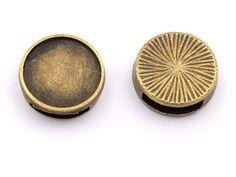 Schiebeperlen in antik silberfarben für 15 mm Cabochons 4 Stück von Vintageparts