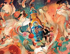 The brief for 2014 Tiger Beer's Chinese New Year campaign was simple: Refresh us. Surprise us. Make a traditional holiday feel new.   The giddy joy of celebration is captured with whimsical creatures, vibrant colors and swirl of movement. Hidden clues and meanings are embedded into the piece and the audiences were invited to partake in this secret challenge. Nine carp represent the Emperor and long life. Eight hidden horses symbolize prosperity while referencing the year of the Horse.  This a... Digital Illustration, New Year Illustration, Tiger Beer, Storyboard, Art Base, Illustrations And Posters, Chinese Art, Asian Art, All Art