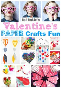 Red Ted ARt's Easy Paper Valentines Day Ideas for Kids of all ages. Simple Paper Crafts for Valentine's Day. Valentine's Day Ideas for the classroom. #valentines #valentinesday #paper #papercrafts #kidscrafts #valentinesideas