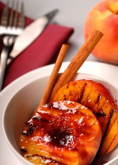 Grilled Peaches with Blackberry Sauce