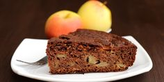 Piece Of Chocolate Apple Cake And Apples