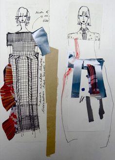 Fashion Sketchbook - fashion design sketches & idea development; creative collage drawings // Hayley Grundmann #fashiondesigners