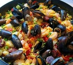 This easy paella recipe with seafood doesn't require a special pan called a paellera. I will omit the mussels and peas but can't wait to make this!! I love paella!!