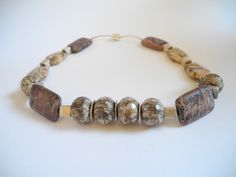 GIFT IDEA Brown beaded gemstone semi precious choker necklace made of brown jaspis and Thai silver, finished with a magnetic clasp (Scheduled via TrafficWonker.com)