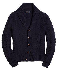 Saxxon™ Wool Shawl Collar Fisherman Cardigan - Brooks Brothers