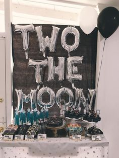 SHOP SMALL TTWO THE MOON This Two the Moon Party is a tiny astronauts dream. When I saw this party thrown for one of the cutest little girls alive I about died! Have you ever seen a cuter space themed party! 2nd Birthday Party Themes, Second Birthday Ideas, Boy Birthday Parties, Birthday Decorations, Balloon Birthday, Boys 2nd Birthday Party Ideas, Birthday Blast, Birthday Themes For Girls, Kids Party Themes