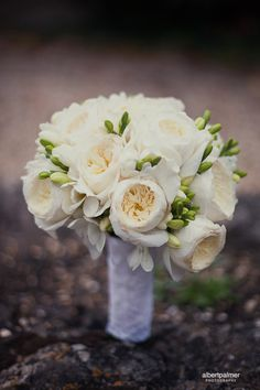 My Bouquet ♥ David Austin Roses & Freesia. It smelt out of this world ♥ Photograph by Albert Palmer
