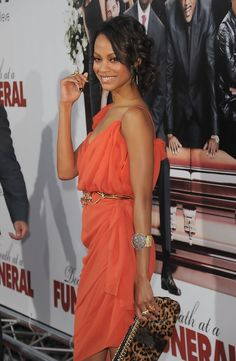 """Actress Zoe Saldana arrives at the """"Death At A Funeral"""" Los Angeles Premiere at Pacific's Cinerama Dome on April 12, 2010 in Hollywood, California."""
