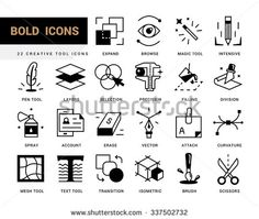 Bold vector icons in a modern style. Linear elements with potting black. Software tools for drawing and design, vector and raster graphics. - stock vector