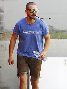 Shia LaBeouf brought flashy style to otherwise chill workout look with sporty shades flaunting mirrored lenses!