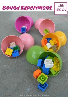 LEGO sound experiment. Cute science experiment for kids using plastic Easter eggs!