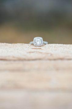 Crystal Cove beach engagement photos // cushion cut diamond engagement ring