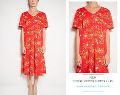 Vintage 70s Red DayDress with Floral Print by NewmanHall on Etsy
