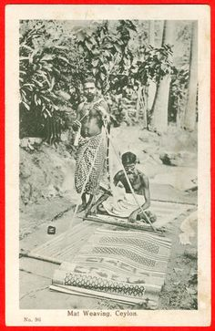 Sri Lanka. Two men spinning with a bottom-whorl-spindle and weaving a mat, c. 1945.