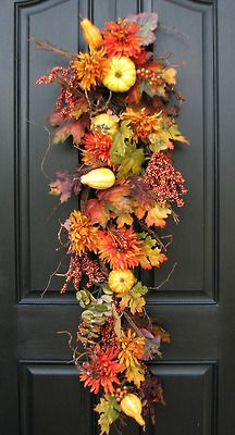 Fall door swag for front door. Fall Door Decorations, Thanksgiving Decorations, Thanksgiving 2013, Dyi Couture, Fall Swags, Christmas Swags, Outdoor Christmas, Door Swag, Door Wreath