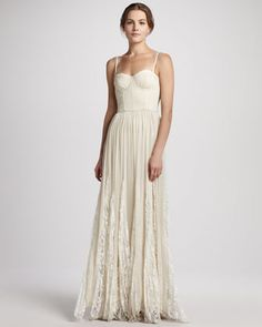 Alice + Olivia Geneva Bustier Pleated Maxi Dress - Neiman Marcus