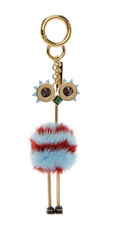 Fendi  Blue & Red Ostrich Keychain