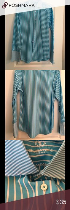 Designer men's dress shirt Bugatchi Designer men's dress shirt! Stunning blue and white stripe! Size 17 Bugatchi Shirts Dress Shirts