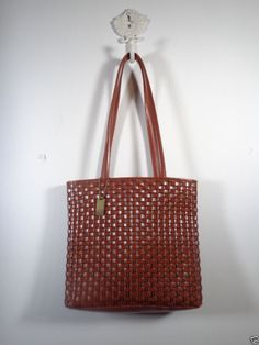 Nine West Purse Brown Woven Leather OUTSTANDING Bag Tote Shoulder #NineWest #TotesShoppers