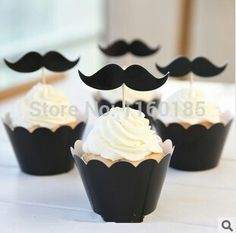 Cupcake Wrappers and Toppers - Black Mustache - Cake Deco / Cupcake Decoration / Packaging Sets) Cupcakes For Men, Themed Cupcakes, Birthday Cupcakes, Moustache Cupcakes, Mustache Cake, Baby Shower Cakes, Baby Boy Shower, Little Man Party, Little Man Birthday Party Ideas