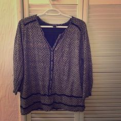 Lucky Brand blouse Lucky Brand blouse black and beige Lucky Brand Tops Blouses