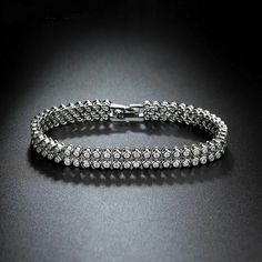 2bc47ec3a57525 14K White Gold Over 5.00 CT Round Cut Diamond 2 Row Bezel Tennis Bracelet  7.25