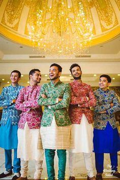 Groom Wear - The Dapper Groom! Wedding Kurta For Men, Wedding Dresses Men Indian, Wedding Dress Men, Wedding Sherwani, Wedding Outfits, Wedding Wear, Gold Wedding, Sangeet Outfit, Mehndi Outfit
