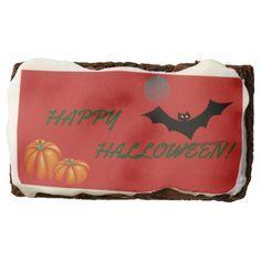 PUMPKINS BAT & MOON ON CHOCOLATE BROWNIES. BROWNIE - Halloween happyhalloween festival party holiday