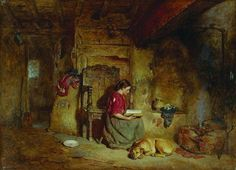 Interior, Girl Reading (1875). Alfred Provis (British, 1843-1886). Oil on panel. Ferens Art Gallery. Provis specialised in small, detailed interiors of cottages and farmhouses, with women and children...