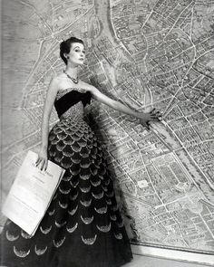 Mary Jane Russell wearing a Christian Dior gown with a big map of Paris photographed by Louise Dahl-Wolfe, 1951 Harpers Bazaar. S)