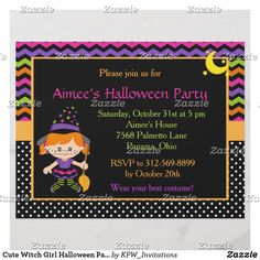 Cute Witch Girl Halloween Party