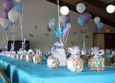 Cute birthday party ideas using colors of blue, purple and white. Dont forget to get your own birthday balloons and awesome party favors