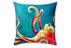 Gras Octopus 20x20 Outdoor Pillow, Multi on OneKingsLane.com